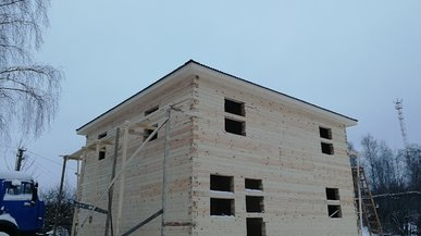 Дом из бруса под усадку 9х9